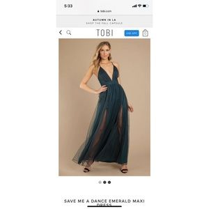 Tobi emerald maxi dress